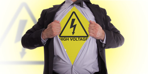 Business man with high voltage t-shirt
