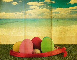 Ester egg with retro grunge background