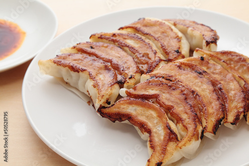 Gyoza, dumplings stuffed with minced pork and vegetables