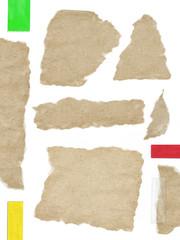 gerissene Papierstücke, dunkles Papier + Klebestreifen