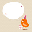 Orange Bird Birthday Gift Speech Bubble Beige Dots