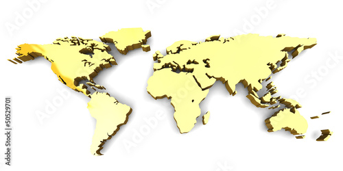 Deurstickers Wereldkaart WORLD MAP - 3D