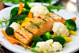 Fillet of salmon with cooked vegetables