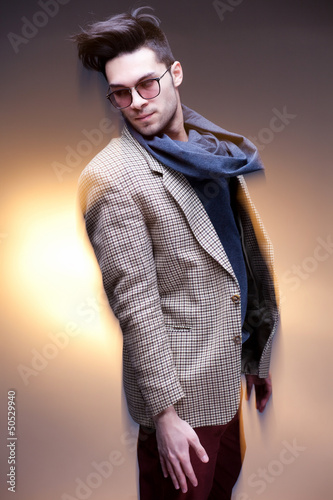 fashion man model posing dramatic - intentional motion blur