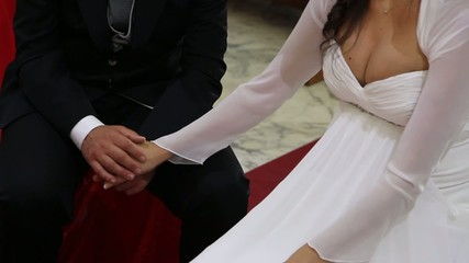 wedding hands in the church