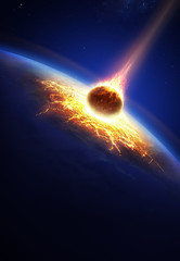 Earth and asteroid colliding