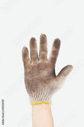 A dirty gloves isolated on white