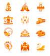 Amusement park or funfair attraction red-orange icon-set