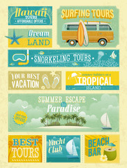Vintage summer holidays and beach advertisements.