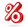 3D Sale Percent Sign Red/White