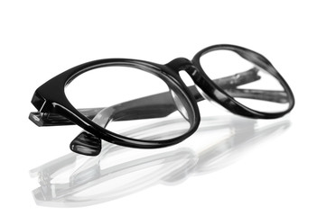black eyeglasses, isolated on white