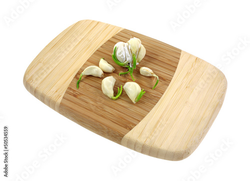 Fresh Garlic Cloves Cutting Board