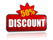 50 percentages discount 3d red banner with star