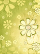 spring beige flowers over vintage green background