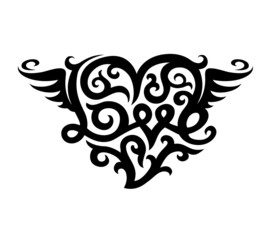 tattoo with love heart symbol vector illustration isolated on