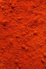 Background of chili powder made from dry red whole chilies