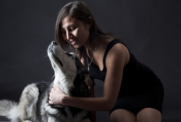 Asian girl and a Siberian husky