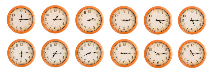 Isolated wall clocks set on white background #4/4