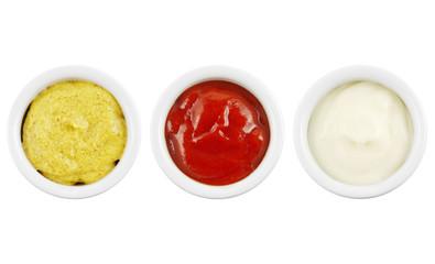 Senf Ketchup und Mayonnaise