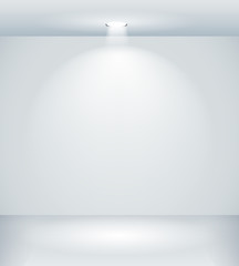 Gallery interior with empty wall and light