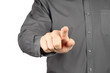 Businessman with indicating hand on white background.