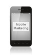 Smart phone with mobile marketing button on its screen