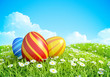 Easter Background with decorated Easter eggs on green lawn.