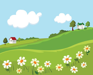 village summer landscape. vector illustration
