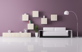 Interior of living room with white sofa 3d render