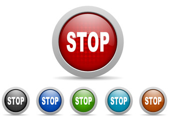 stop vector icon set