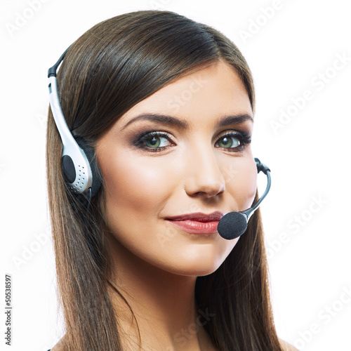 smiling operator with phone headset