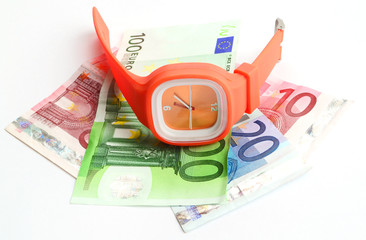 wristlet watch with banknotes