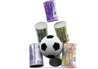 Fussball der Gelddosen umschießt (frontal)