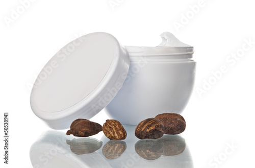Pot of shea butter and nuts