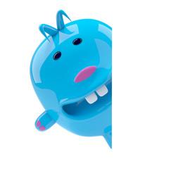 Little blue alien toy is hiding