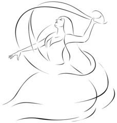 belly dancer illustration - black outline