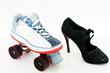 Rollschuh und High Heel