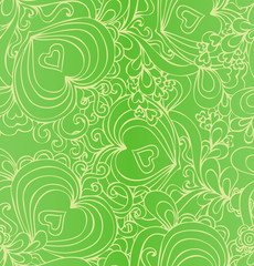 .Seamless abstract hand-drawn green pattern with hearts.