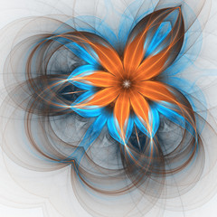 Orange and blue flower, digital fractal art design