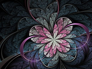 Pink flower or butterfly on dark background, digital fractal art