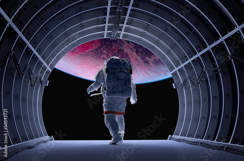 canvas print picture Astronaut in the tunnels