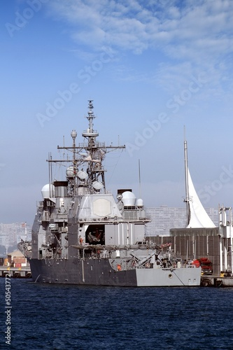 Ticonderoga class cruise docked in the port of Alicante; Spain.
