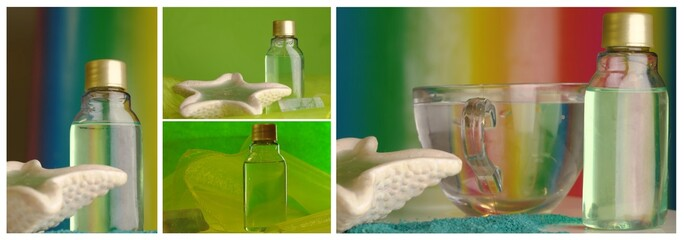 wellness collage with shampoo, glass and sea shell