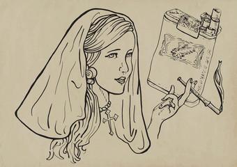 young girl, like a nun, elegantly smoking a cigarette