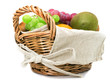 Fruits in the basket on a white background