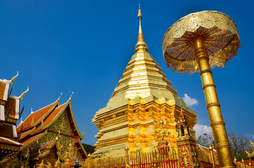 Golden temple Wat phra That in Doi Suthep, Chiang Mai, Thailand