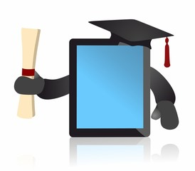 graduate tablet computer holding diploma - vector