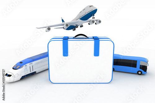 traffic resources with suitcase, 3d  render illustration