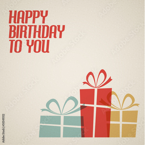 Happy birthday retro vector illustration