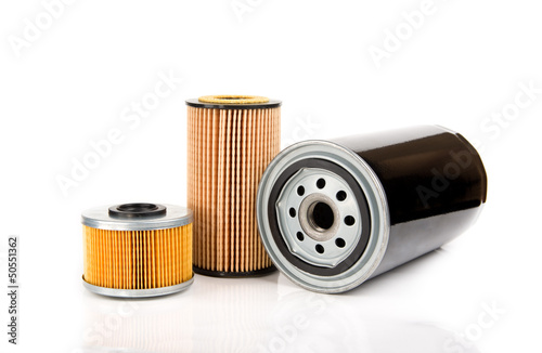 Oil filters isolated on white